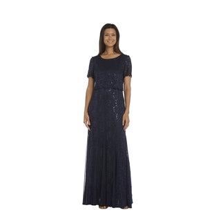 R&M Richards Navy Lace Popover Dress