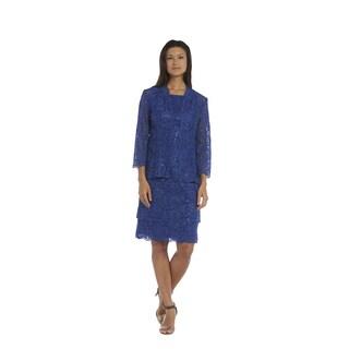 R&M Richards Women's Royal Blue Spandex Blend Jacket Dress