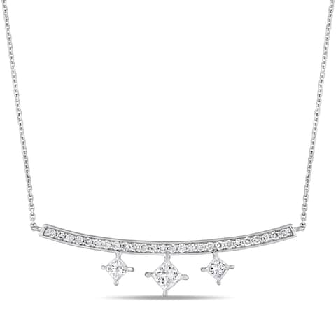 Miadora Signature Collection 14k White Gold 1ct TDW Princess and Round-Cut Diamond Bar Dangle Necklace