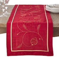 Embroidered Ornament Design Holiday Table Runner