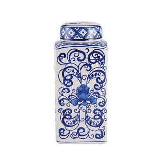 BombayBlue Floral Swirl Ceramic Jar With Lid