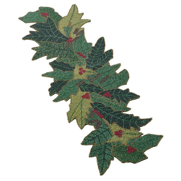 Shop Christmas Beaded Holly Design Table Runner On Sale
