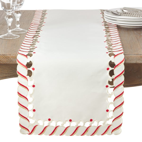 Candy Cane Design Christmas Holiday Table Runner. Opens flyout.