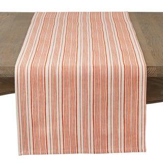 Modern Block Stripe Design Cotton Table Runner (Option: Orange - Casual)