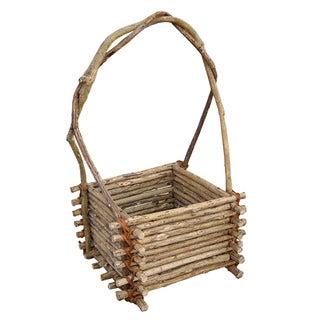 Cheung's Brown Twig Square Basket with High Handle