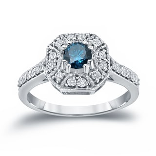 Auriya 14k Gold 3/4ct TDW Blue and White Diamond Engagement Ring (Blue, I1-I2)