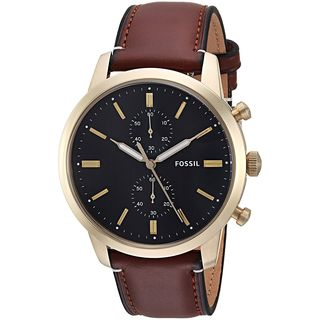 Fossil Men's FS5338 'Townsman' Chronograph Brown Stainless Steel Watch