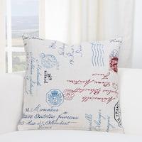 SIScovers Postscript White/Blue Cotton/Linen Accent Throw Pillow