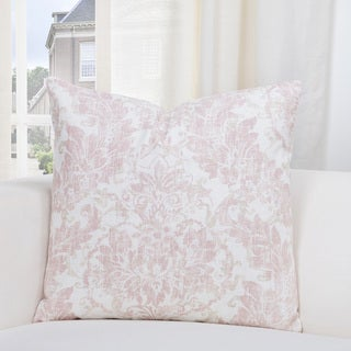 SIScovers Parlour Rose/Off-white Linen Damask Accent Throw Pillow