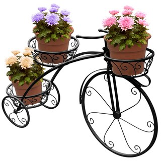 Sorbus® Tricycle Plant Stand - Flower Pot Cart Holder - Parisian Style (Black)