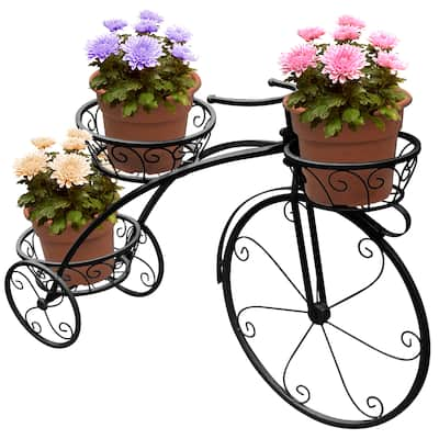 Sorbus? Tricycle Plant Stand - Flower Pot Cart Holder - Parisian Style (Black)
