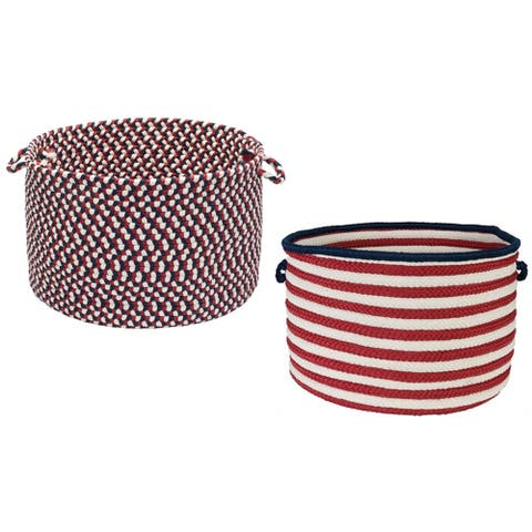 "Colonial Mills Patriotic Red/White/Blue Storage Basket - 18""L x 18""W x 10""H"