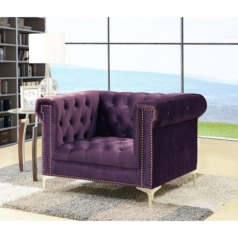 Chic Home Vanessa Button Tufted Goldtone Metal Y-leg Club Chair,Purple