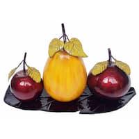 D'Lusso Designs Metal Plate with Decorative Fruit (4-piece Set)
