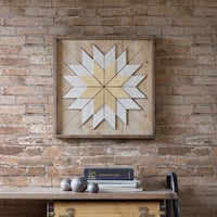 INK+IVY Solis Natural Wood Wall Decor with Gold Embelishment