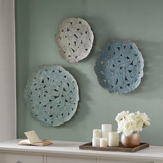 Madison Park Rosalie Blue Iron Painted Wall Decor Set of 3