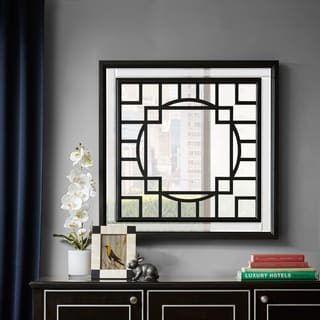 Madison Park Carter Patterned Print Black Square Mirror