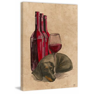 'Wine-aholic' Painting Print on Wrapped Canvas - Red