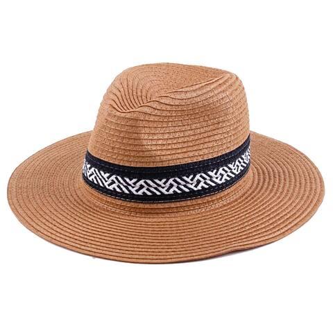 Classic Long Brim Straw Fedora Hat 523HF