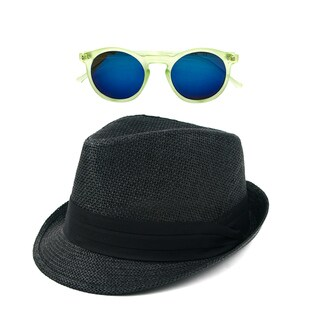 Pop Fashionwear Straw Fedora Vintage Sun Hat with Free Sunglasses (2 options available)
