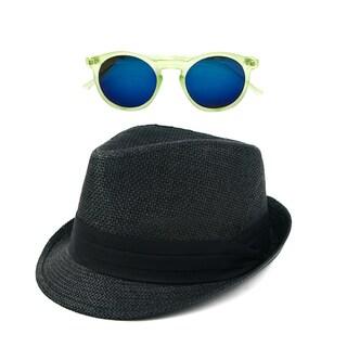 Pop Fashionwear Straw Fedora Vintage Sun Hat with Free Sunglasses