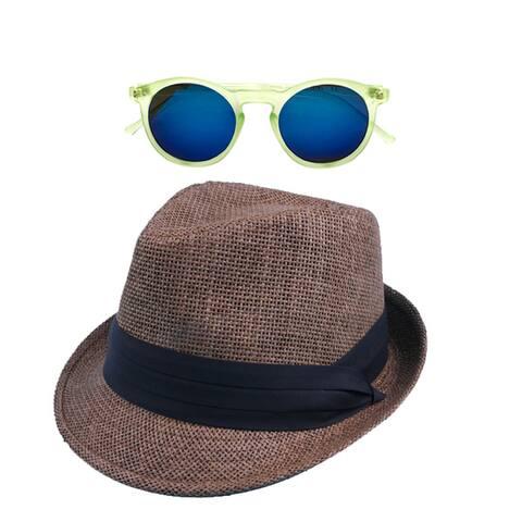 04df1ce9f557f Pop Fashionwear Straw Fedora Vintage Sun Hat with Free Sunglasses