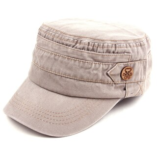 Pop Fashionwear Unisex 100% Cotton Washable Cadet Cap Hat 1 (Option: Beige)