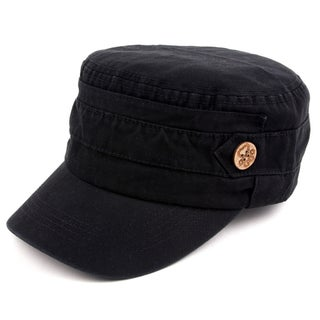 Pop Fashionwear Unisex 100% Cotton Washable Cadet Cap Hat 1 (Option: Black)