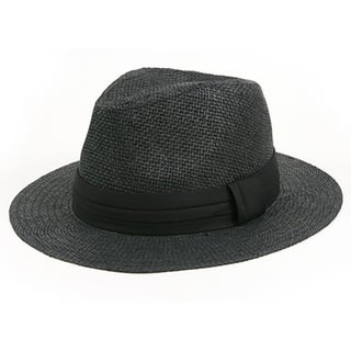 Pop Fashionwear Unisex Retro Fashion Straw Panama Fedora Hat (Option: Black)