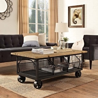 Modway Fairground Black/Brown Steel/Pine Wood Coffee Table