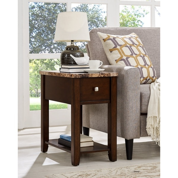shop faux marble top wood end table with drawer free shipping today overstock 16072219. Black Bedroom Furniture Sets. Home Design Ideas