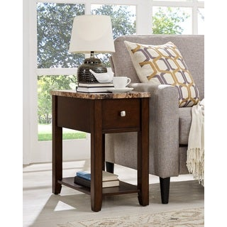 Faux Marble Top Wood End Table with Drawer