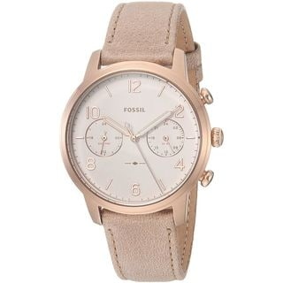 Fossil Women's ES4238 'Caiden' Dual Time Brown Leather Watch