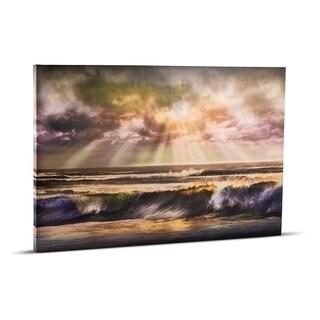 Waves of Light Beach Sunrise Sunset Wrapped Photo Print Wall Art on Canvas