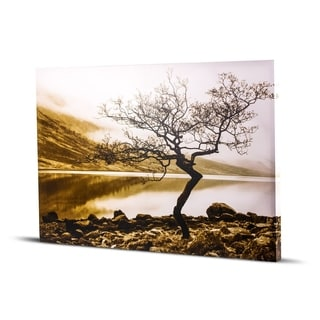 Standing Tree Shore of Loch Etive Black and White Sepia Tone Photo Print Wall Art on Canvas