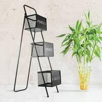 Metal Storage Organizer Magazine Rack with Chalkboards Free Standing