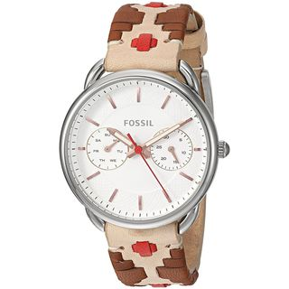 Fossil Women's ES4226 'Tailor' Multi-Function Brown and Red Leather Watch