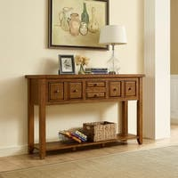 Sienna Oak Finish Moroccan Pine Entryway Table
