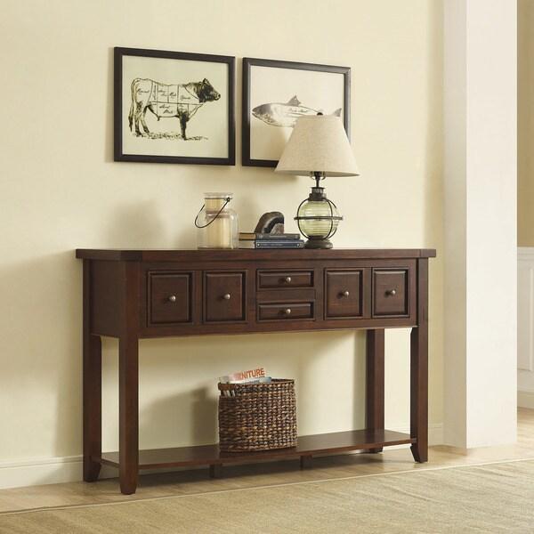 Crosley Furniture Sienna Rustic Mahogany Wood Entryway Table