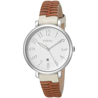 Fossil Women's ES4209 'Jacqueline' Brown and White Leather Watch