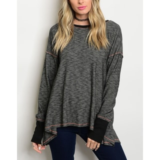 JED Women's Charcoal Relax Fit Long Sleeve Knit Top