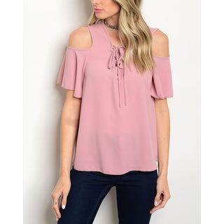 JED Women's Lace Up Cold Shoulder Top