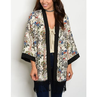 JED Women's Cream & Black Printed Kimono Cardigan