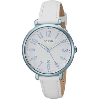 Fossil Women's ES4203 'Jacqueline' White Leather Watch