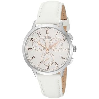 Fossil Women's CH4000 'Abilene' Chronograph White Leather Watch