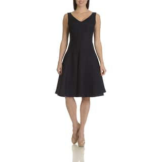 Chelsea & Theodore Women's Blue Linen Fit-and-flare Dress|https://ak1.ostkcdn.com/images/products/16072835/P22458837.jpg?impolicy=medium