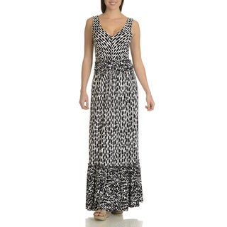Chelsea & Theodore Women's Black and White Rayon Blend Abstract Floral Print Maxi Dress