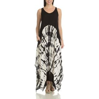 Chelsea & Theodore Women's Tie-dye Rayon Uneven-hem Maxi Dress