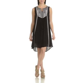 Chelsea & Theodore Women's Black and White Cotton Blend Embroidered Casual Dress