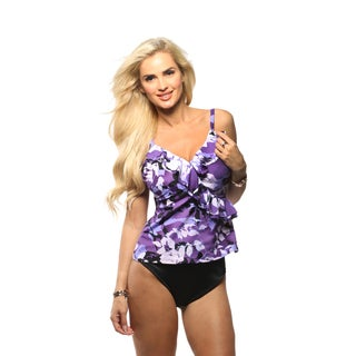 Trimshaper Autumn Essence Amy Tankini Top with High Waist Bikini Bottom